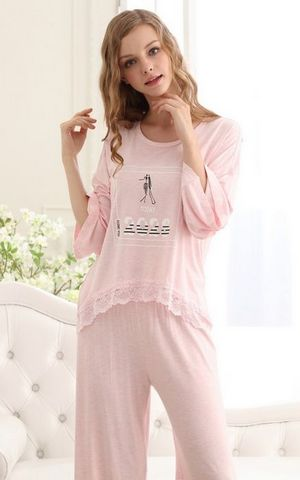 SL80035-2womens lovely modal cotton pajamas fashion long-sleeved two-piece suit