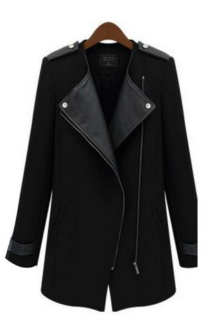 W24045-1 Black Zipper Fastening Long Sleeves Lapel Trench Coat Outerwear