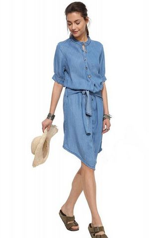 W25035 Casual Demin Long Sleeves Shirt Jeans Dress