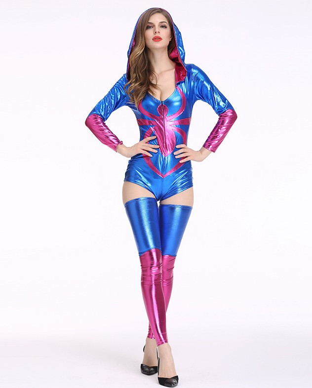 F1742 Halloween Costume Womens Ladies Bodycon Tight Hooded Playsuit Jumpsuit