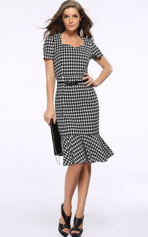 F2496 Stylish Houndstooth Printed Short Sleeves Fitted Fishtail Bottom Dress