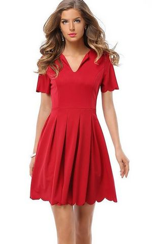 F2497-1 Red Scalloped Hem Zipper Closure Dress