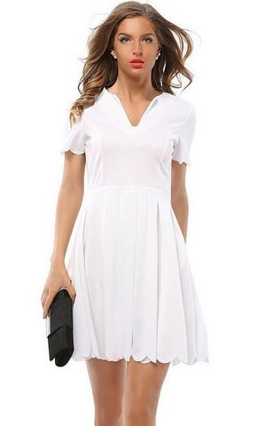 F2497-2  Scalloped Trim Short Sleeve A Line Dress