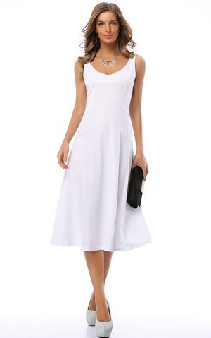 F2500 ELEGANT SLEEVELESS WHITE FIT AND FLARED GOING OUT MIDI DRESS