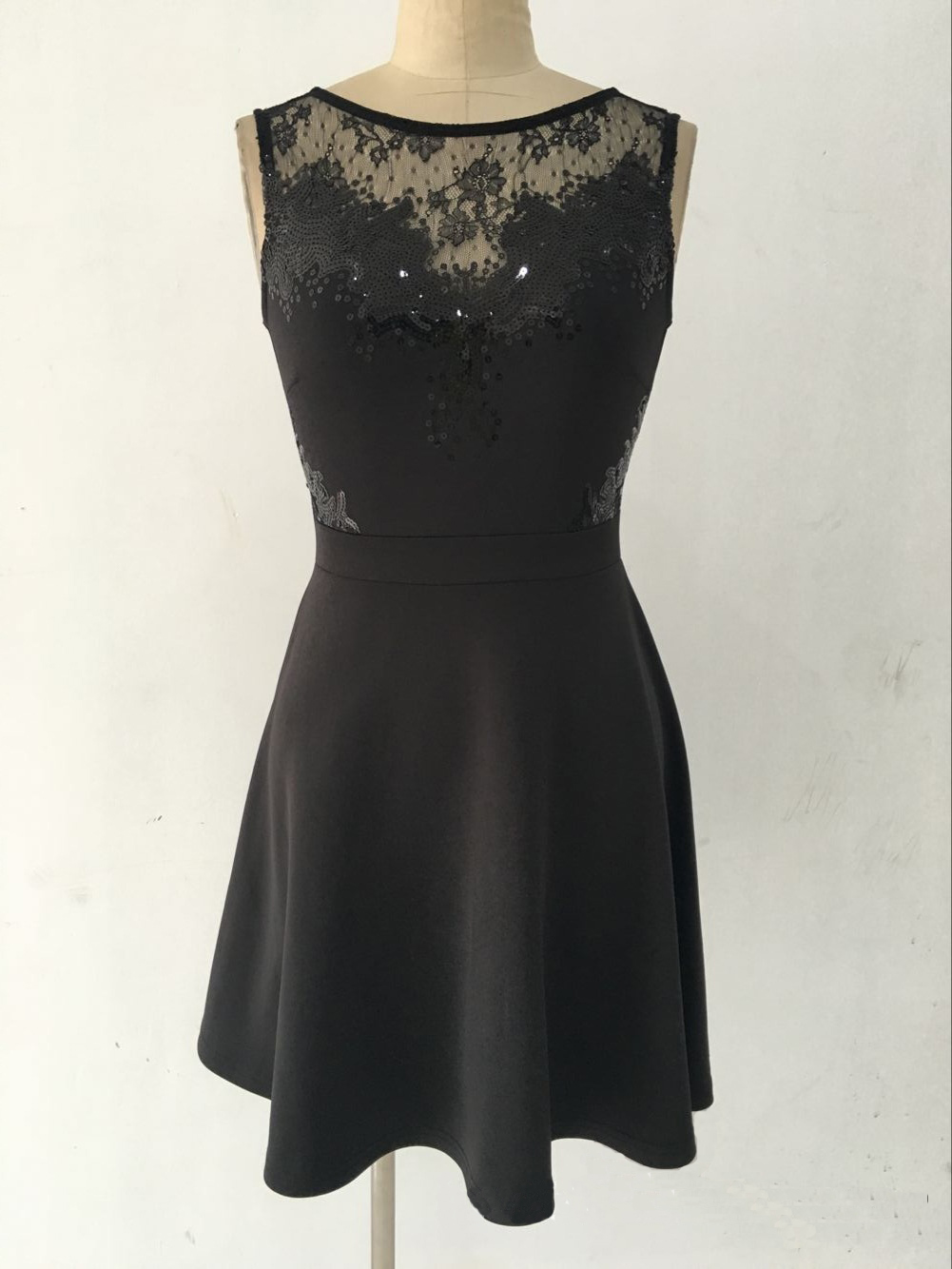 F2508 Skater Dress with Lace and Sequin Top