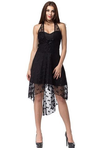 F2509 Black chiffon dress