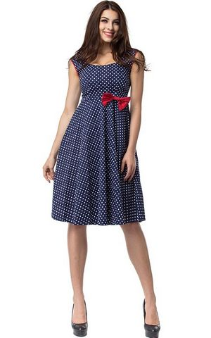 F2510  Blue and White Polka Dot With Red Bow Sleeveless Tank Dress Ball Gown