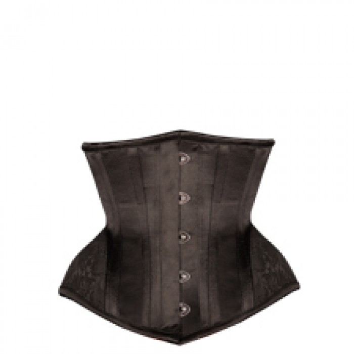 F66360 Black Underbust with Contrast Brocade Hip Panel and Curved Hem