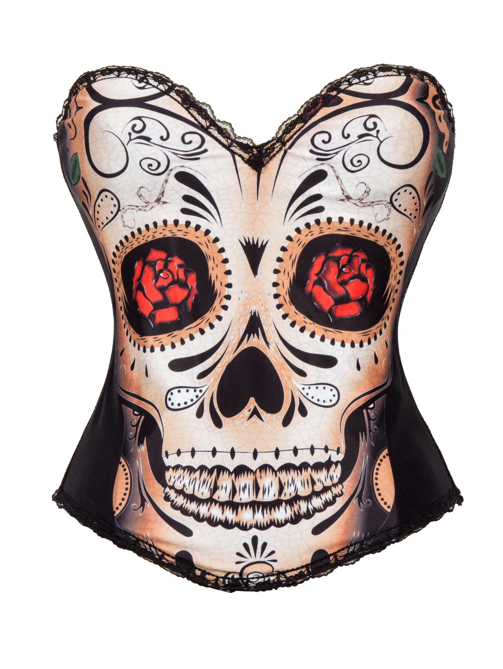 F66370   Sexy Black Skull Day of The Dead Halloween Costume Corset