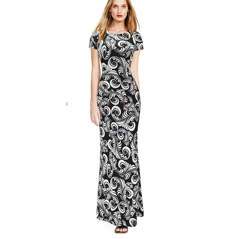 W25037 Womens Short Sleeve Casual Party Long Maxi Dress