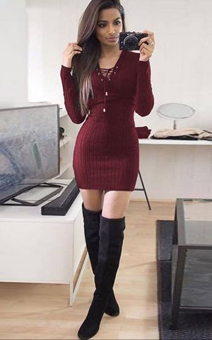 W25038-2 Womens Knitwear Bodycon Cocktail Evening Party Sweater Mini Dress