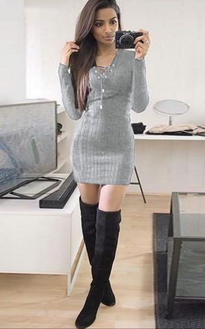 W25038-4  Womens Knitwear Bodycon Cocktail Evening Party Sweater Mini Dress