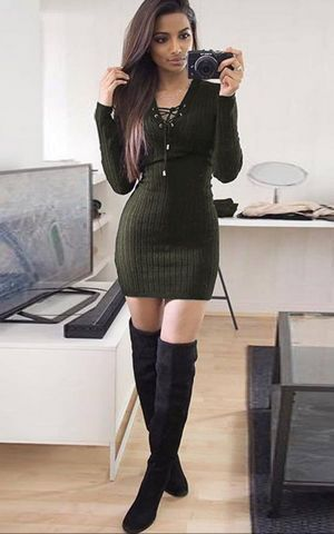 W25038-5  Long Sleeve Knitwear Bodycon Cocktail Evening Party Sweater Mini Dress