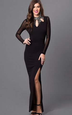 W25042  Black High Neck Open Back Dress with Sheer Long Sleeves