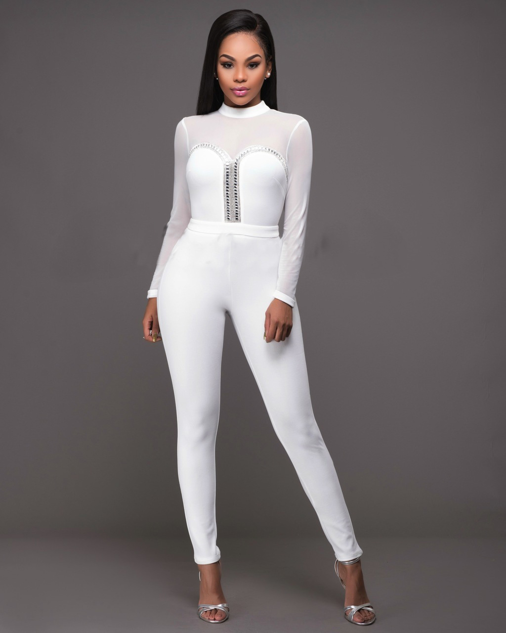 F2513-2  Sexy Crewneck Long Sleeve Mesh Bodycon Clubwear Party Jumpsuit Romper