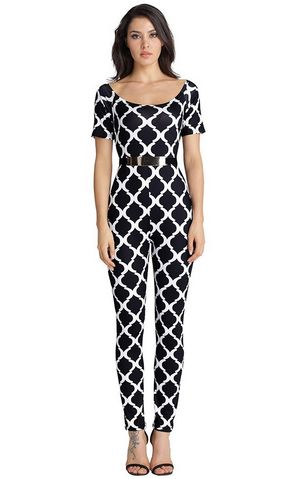 F2516-2 Women Jumpsuits Fashion Print Off the Shoulder with Belt