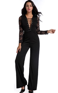 F2524 Black Lace Long Sleeve Pant Jumpsuit