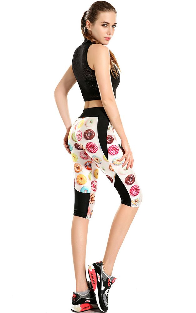 F33097 Printing delicious donuts high waisted seven sports pant wholesale
