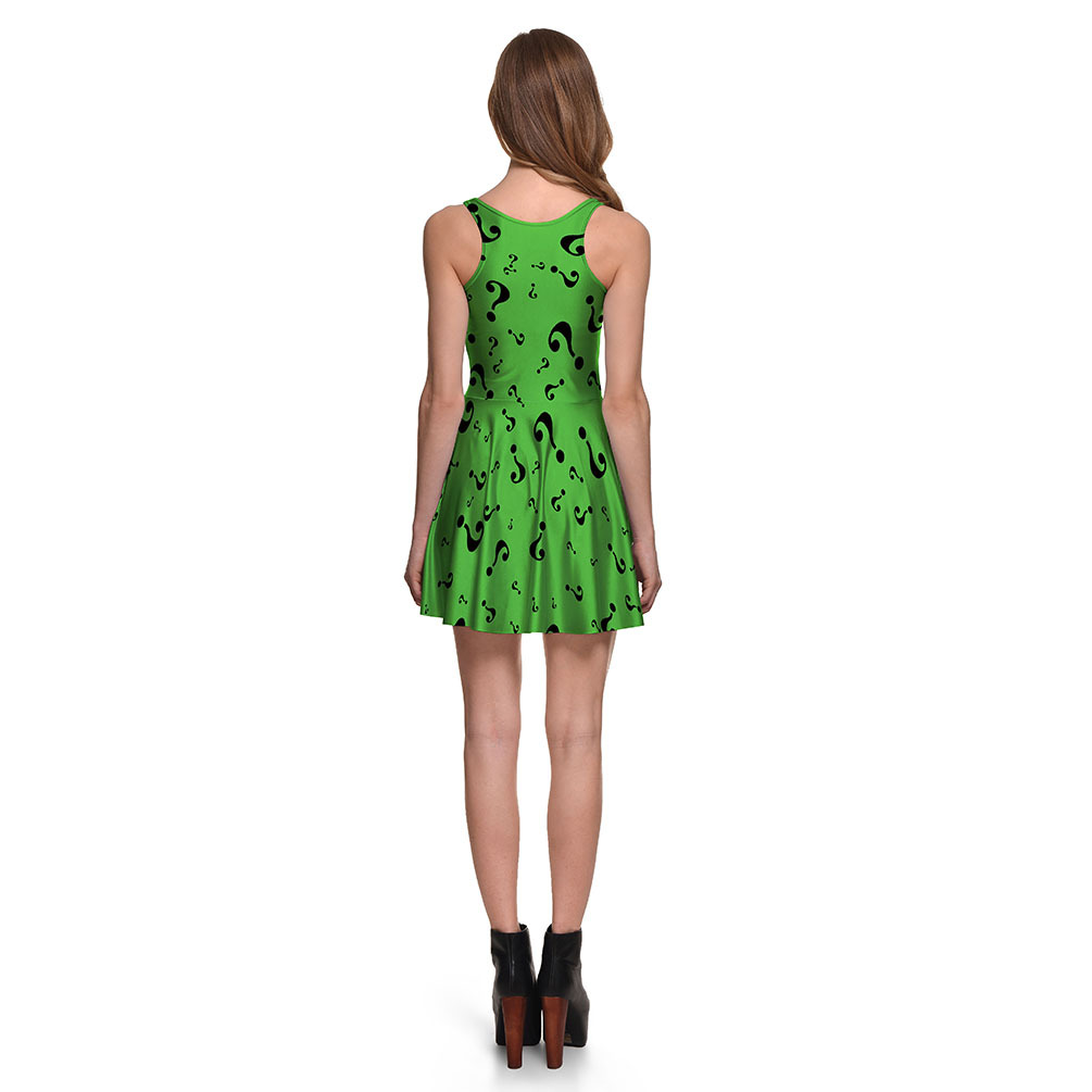 F33098 Sexy Girl Women Summe Prints Reversible Sleeveless Skater Pleated Dress