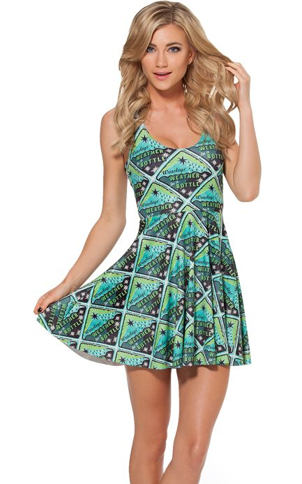 F33100 Green Mixed Print Sleeveless Pleated Skater Dress
