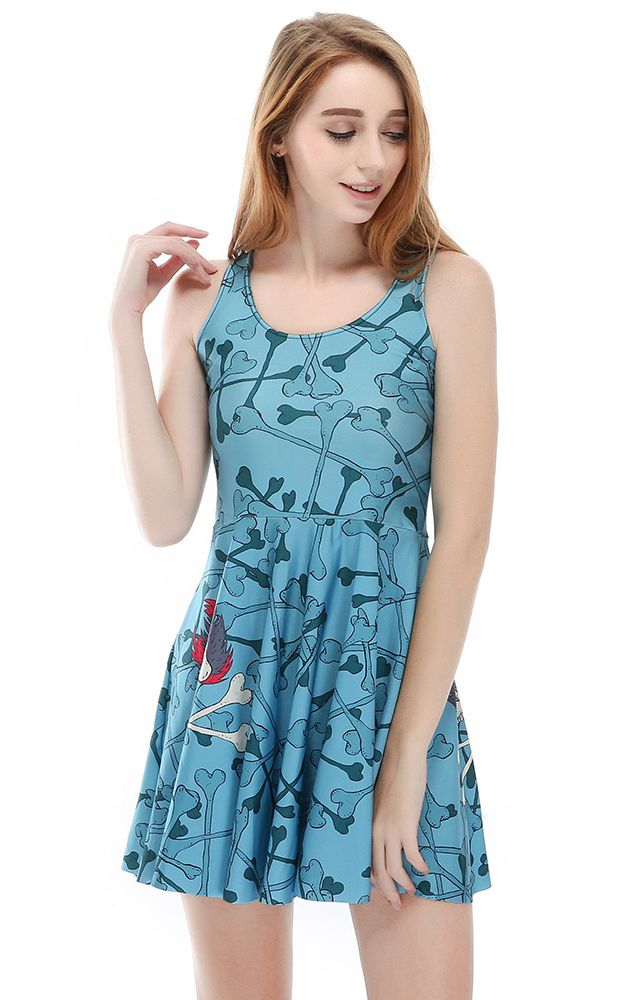 F33101 Product Blue Color Sleeveless Dresses Digital Print Bones Skater Dress