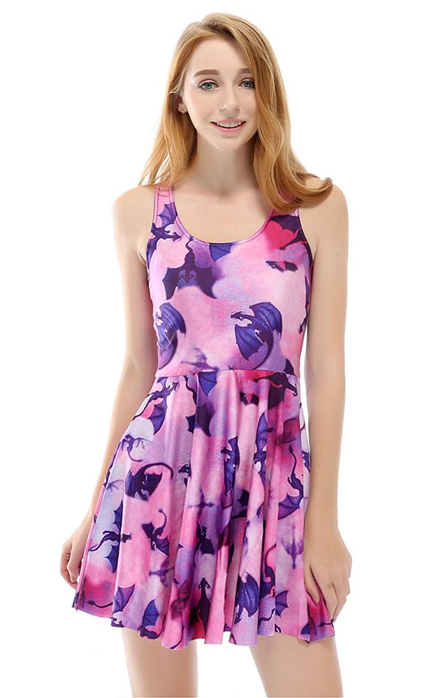 F33104 Women Pleated dress Flying Purple Dragon Printed Pleated dresss