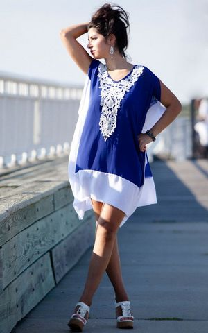 F4556 Blue White Chiffon Colorblock Crochet Applique Kaftan