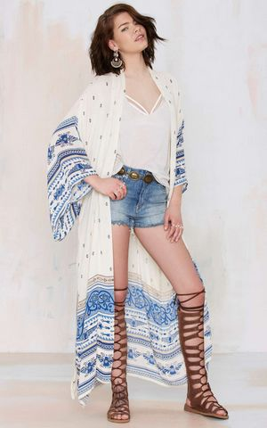 F4560  Summer Women Chiffon Cardigan Long Blouse Bikini Cover Up Robe