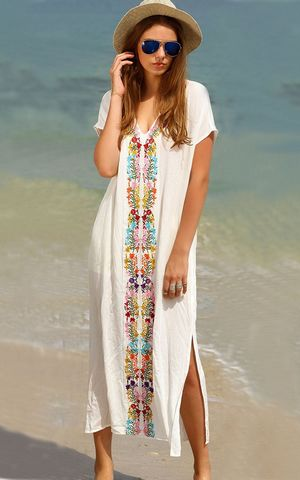 F4565 White Placement Print Split Side Maxi Dress