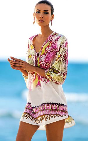 F4568     Women Robe Plage Swimwear Dress Sexy Sarong Beach Tunic