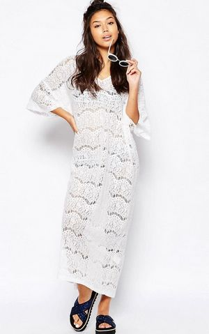 F4570-1 All Over Lace Beach Maxi Dress White Women Beachwear