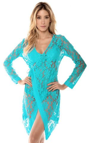 F4572-3  Light Blue Tie up Long Sleeves Lace Bathing Suit Beachwear