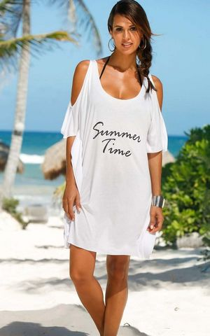 F4576-1 Summer Time White Cold Shoulder Casual Shirt Dress