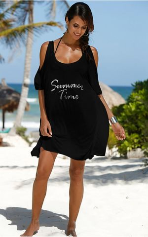 F4576-2  Summer Time Black Cold Shoulder Casual Shirt Dress