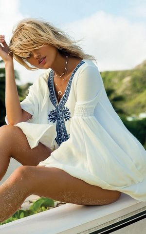 F4579 Blue Embroidered Beach Dress