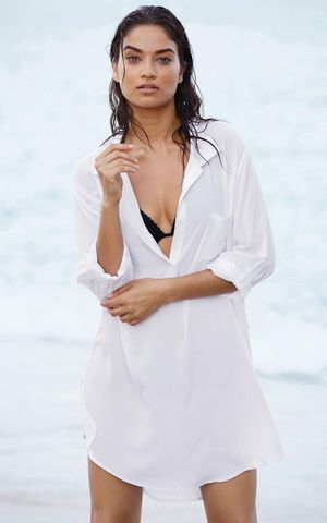 F4585 Sexy Translucent Deep V Neck White Swimsuit Cover Up Dress with Pocket