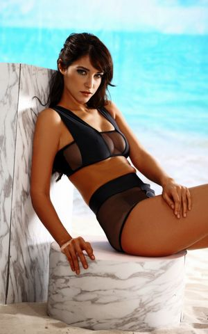 F4622 Black Mesh Patchwork Bikini Set