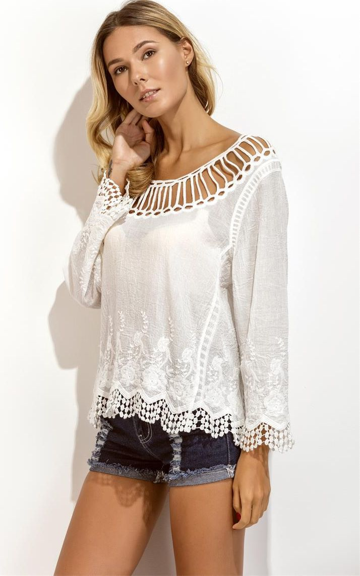F4639 Sexy white beach sunscreen blouse lace hollow loose long sleeved print top