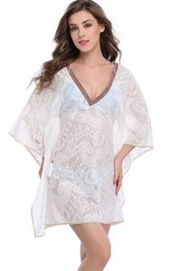 F4643 High Quality White Deep V Lace Beach Cover Dress