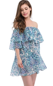 F4644 off shoulder Printing beach  dress