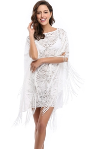 F4646 Hugh Quality White Lace Tassel Beach Dress Wholesale