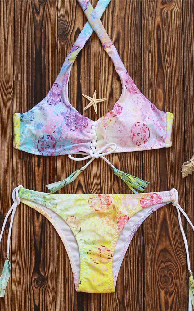 F4656 Multi Halter Ombre Lace Up Two Piece Bikini Swimsuit