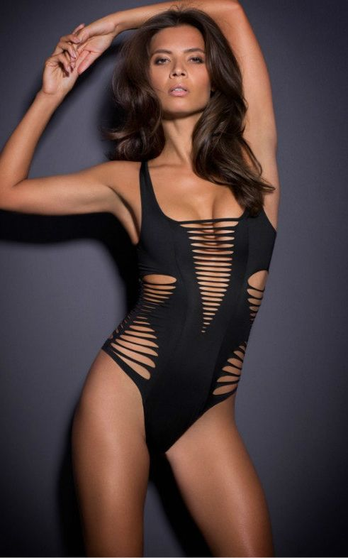F4657 Black Shred Cutout One Piece Swimsuit