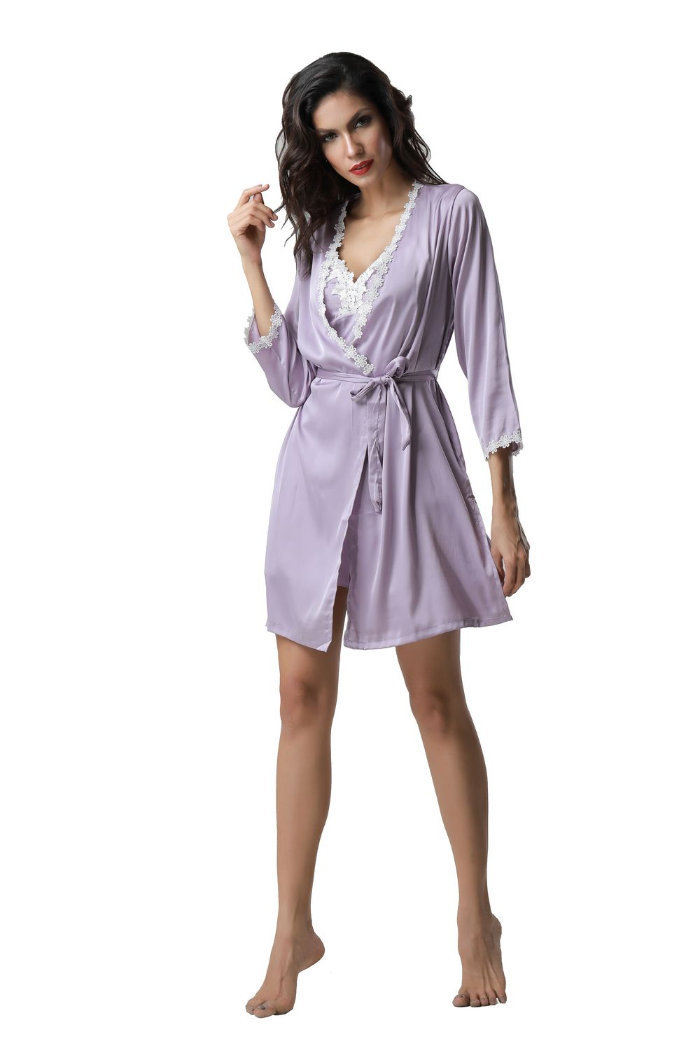 F5270-3 Sexy two piece women long sleeve silk pajamas with padding