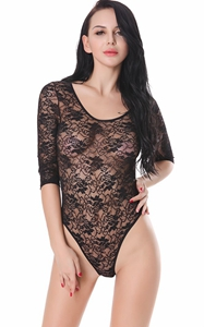 F5368 See Through Lace High Cut Teddy With Sleeves   Black