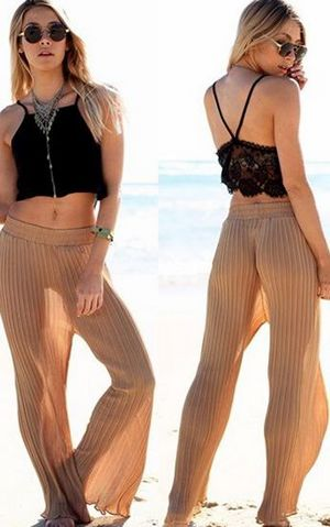 W25049 Sexy Khaki Strip Pattern Decorated Loose Design Beach Pants