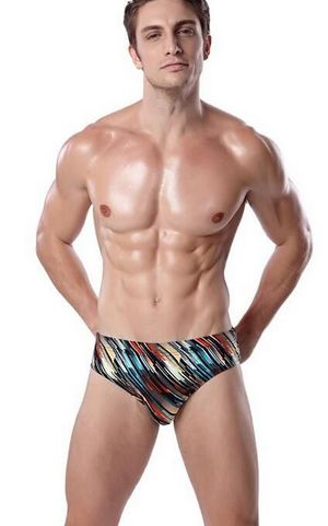 W25057-1 Classic Pattern Vintage Striped Sexy Mens Swimming Briefs Plus size