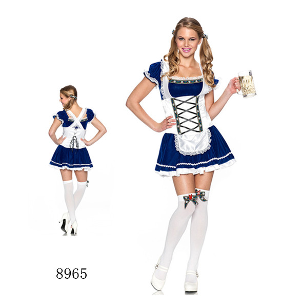 F1763 Sexy blue Bavarian oktoberfest beer girl costume gothic maid dress