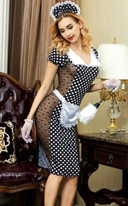 F1769 Sexy french maid long cosplay costume dress for halloween