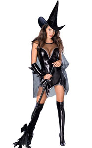F1774 Adult Sexy Witch Women Black Magic Moment Costume